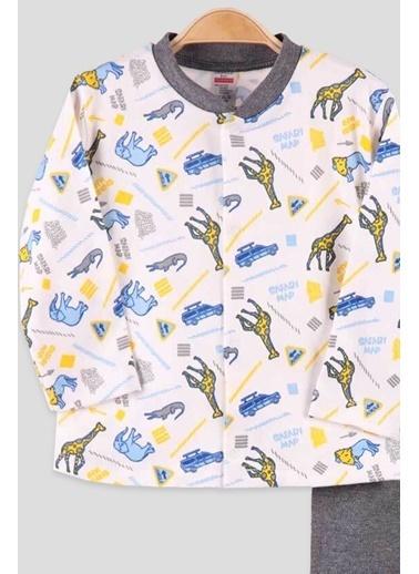 Breeze Erkek Bebek Pijama Takımı Çıtçıtlı Zürafalı Ekru